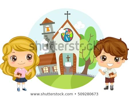 Christian Kids Attend Church Service Stock photo © lenm