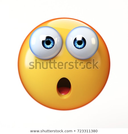 funny yellow cartoon smiley face character with expressions a panic stock photo © hittoon