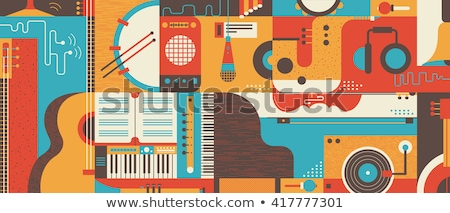abstract musical guitar with wave stock photo © pathakdesigner
