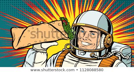 Glimlachend man astronaut presenteert kebab pop art Stockfoto © studiostoks