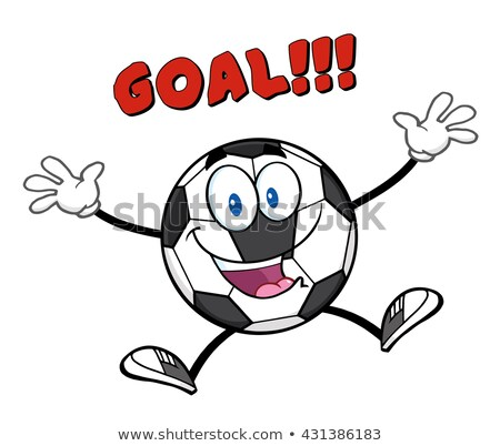 Happy Soccer Ball Cartoon Mascot Character Jumping With Text Goal Stock photo © hittoon