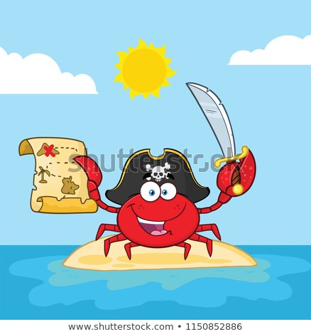 pirate crab cartoon mascot character holding a treasure map and sword on an island stock photo © hittoon