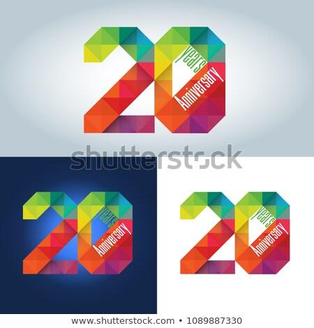 20th Anniversary colourful geometric triangular icon Stock photo © amanmana