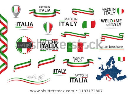 Big set of Italian ribbons, symbols, icons and flags isolated on a white background, Made in Italy,  Stock photo © kurkalukas