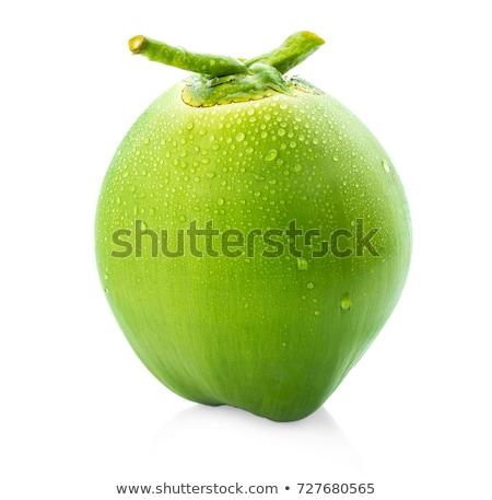 ストックフォト: 水滴 · 緑 · ココナッツ · 孤立した · ドロップ