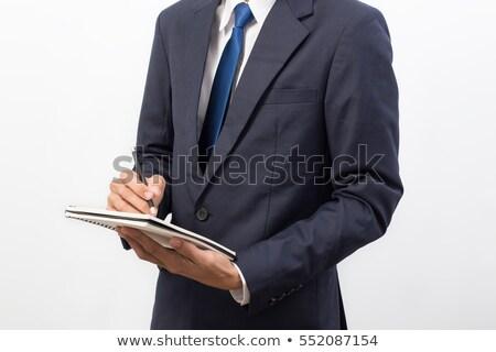 小さな ビジネスマン メモを取る 議題 立って オフィス ストックフォト © boggy
