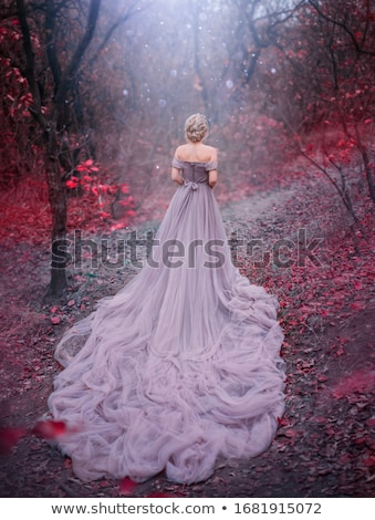 Stock photo: blonde in a red gown