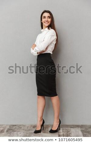肖像 女性 長い 茶色の髪 着用 ストックフォト © deandrobot