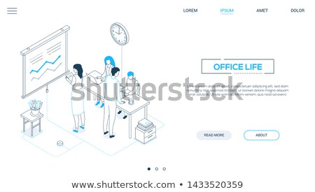 Time management - modern isometric vector web banner Stock photo © Decorwithme