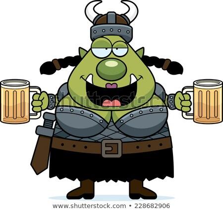 dronken · cartoon · bier · illustratie · glas · naar - stockfoto © cthoman