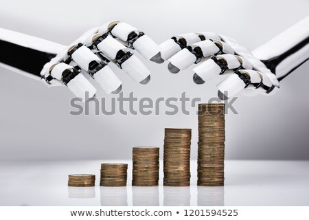 Robot Protecting Increasing Stacked Coins Stock photo © AndreyPopov