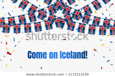 Islândia grinalda bandeira confete transparente celebração Foto stock © olehsvetiukha