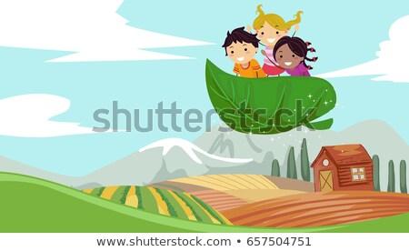 Stickman Kids Explore Farm Illustration Stock photo © lenm