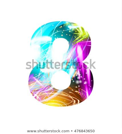 Klasszikus izzik szám nyolc dizájn elem fényes Stock fotó © lissantee