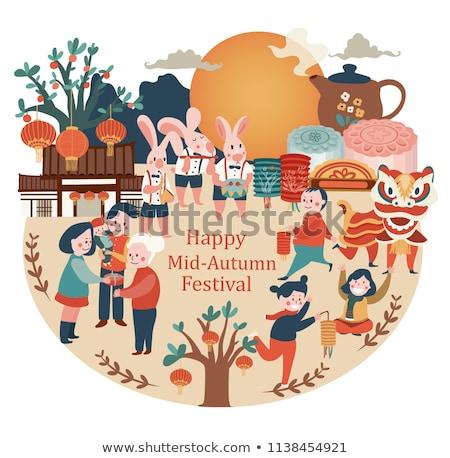 Happy Mid Autumn Festival Set Vector Illustration Stock photo © robuart