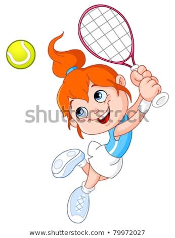tennisbal · speler · cartoon · mascotte · karakter · racket - stockfoto © hittoon