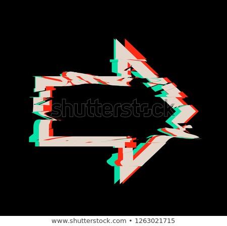 Glitch distortion frame. Vector arrow illustration on black Stock photo © m_pavlov