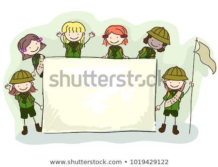 Criança menina escoteiro floresta camping ilustração Foto stock © lenm