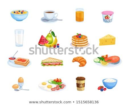 süzme · peynir · salata · çilek · mandalina · portakal · yaprak - stok fotoğraf © illia