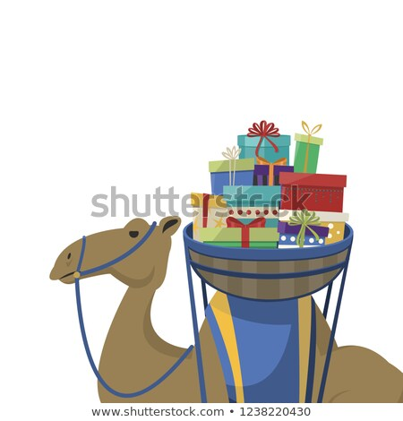 Happy epiphany day. Camel transporting gifts on a white background Stock photo © Imaagio