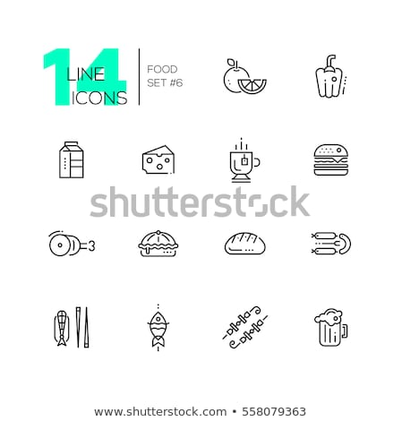 Vector cheese types icon set Stock photo © tele52