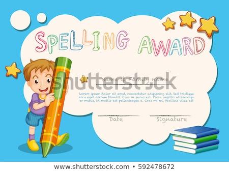 Ortografia prêmio certidão modelo crianças crayon Foto stock © colematt
