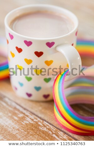Copo coração padrão homossexual consciência fita Foto stock © dolgachov