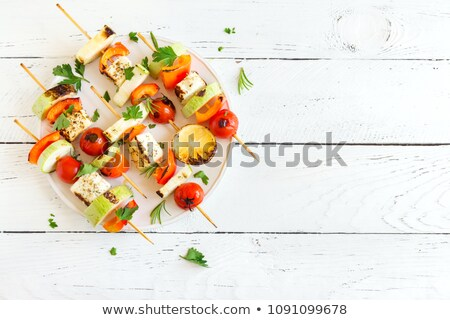 Tofu and Sweet Pepper Skewers Stock photo © zoryanchik