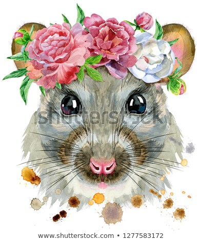 Watercolor portrait of rat in a wreath of peonies Stock photo © Natalia_1947