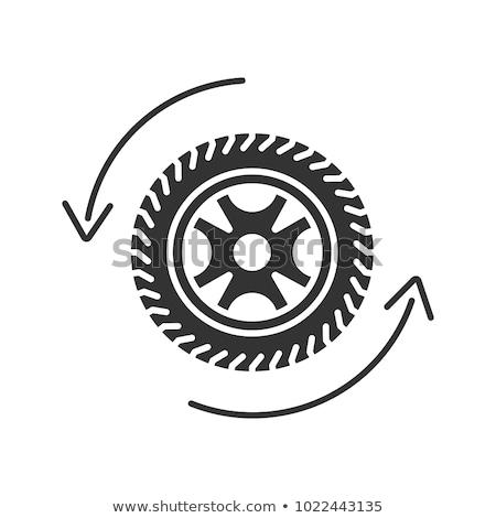 Samochodu opon logo czarny wektora ikona Zdjęcia stock © blaskorizov