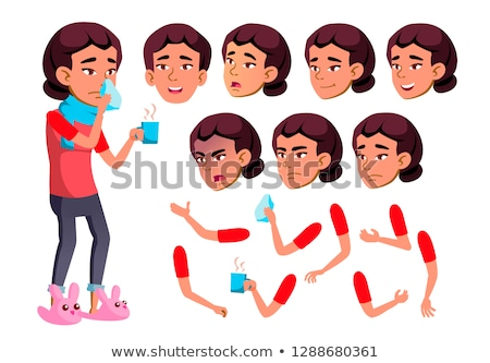 Asian Teen Girl Vector. Teenager. Sick, Cough. Runy Nose. Health. Face Emotions, Various Gestures. A Stock photo © pikepicture