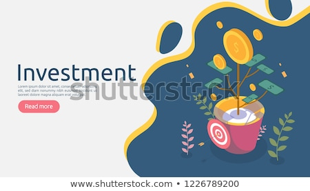 Flat isometric vector landing page template of return on investment, roi. Stock photo © TarikVision