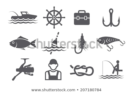 Fishing Fisherman with Rod and Fish Vector Icon Stock photo © robuart