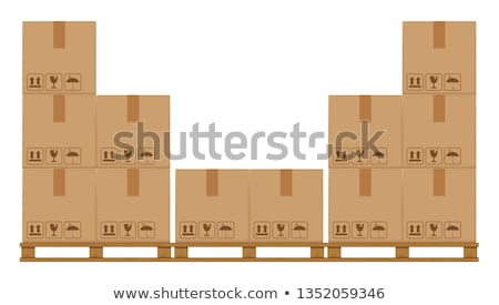 Forklift with carton boxes on the pallet vector illustration Stock photo © YuriSchmidt