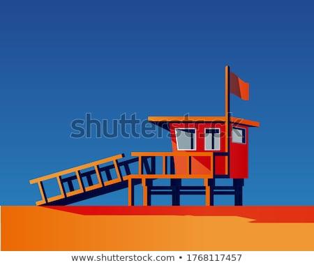 家 ビーチ 緑 青 フラグ 砂 ストックフォト © colematt