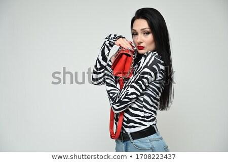 positividad · de · moda · morena · a · rayas · vestido · posando - foto stock © studiolucky