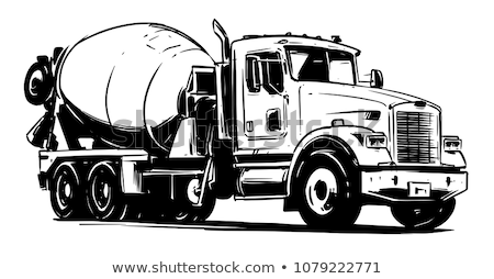 Ikon beton mikser kamyon ince hat Stok fotoğraf © angelp