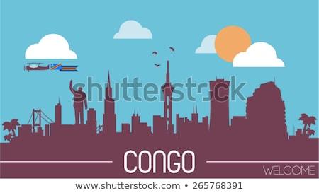 Ház zászló demokratikus köztársaság Kongó csetepaté Stock fotó © MikhailMishchenko