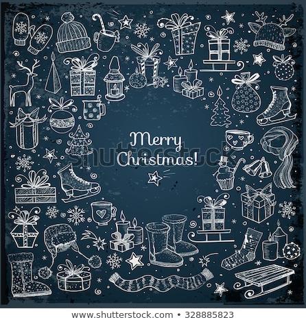 Color boceto Navidad calcetín dibujado a mano estilo Foto stock © netkov1