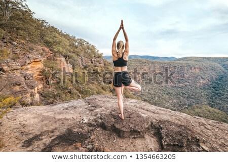 Vrouwelijke sterkte yoga evenwicht berg klif Stockfoto © lovleah