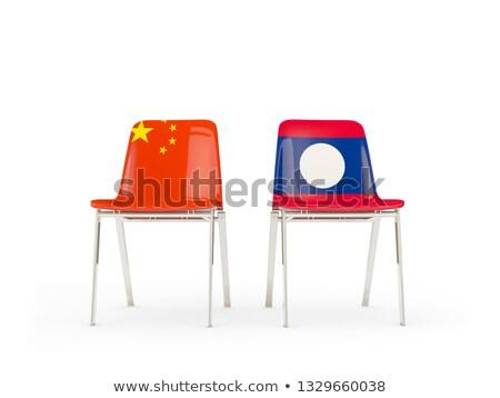 Deux chaises drapeaux Chine Laos isolé Photo stock © MikhailMishchenko