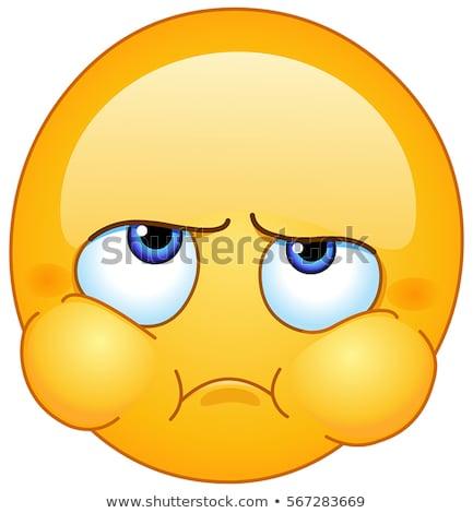 Heraus Wangen Emoticon enttäuscht nervös böse Stock foto © yayayoyo