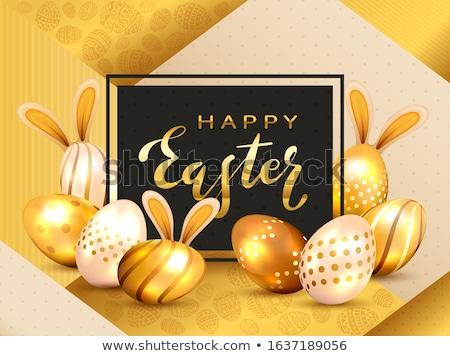 altın · easter · egg · siyah · yumurta · parıltı · vektör - stok fotoğraf © artspace