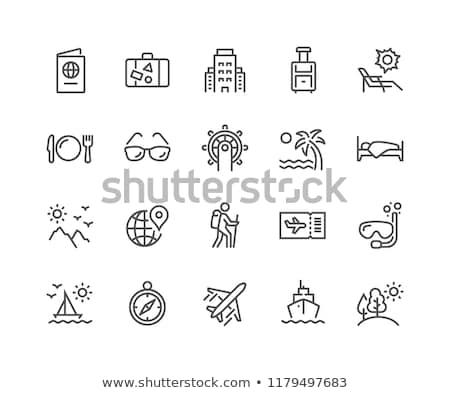 Hátizsákos turista vektor vonal ikon izolált fehér Stock fotó © smoki