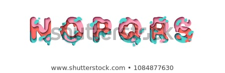 Colorful paper cut out font Letter P 3D Stock photo © djmilic
