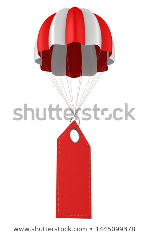 red leather label and parachute on white background. Isolated 3D Stock photo © ISerg