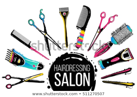 Hair salon hand drawn vector doodles illustration. Hairstyle poster design. Stock photo © balabolka