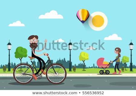 женщины ретро велосипед Cityscape изолированный женщину Сток-фото © NikoDzhi