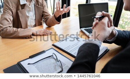 businessman candidate explaining about his profile and conductin Stock photo © snowing