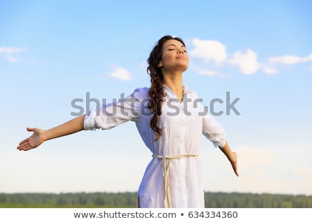 Fiatal nő légzés friss levegő oldalnézet gyönyörű befejezés Stock fotó © AndreyPopov